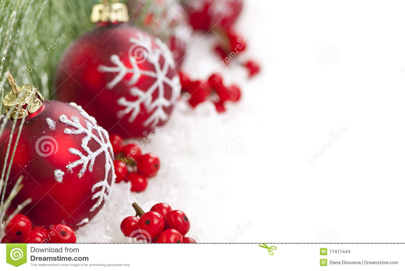 red christmas ornaments border stock images