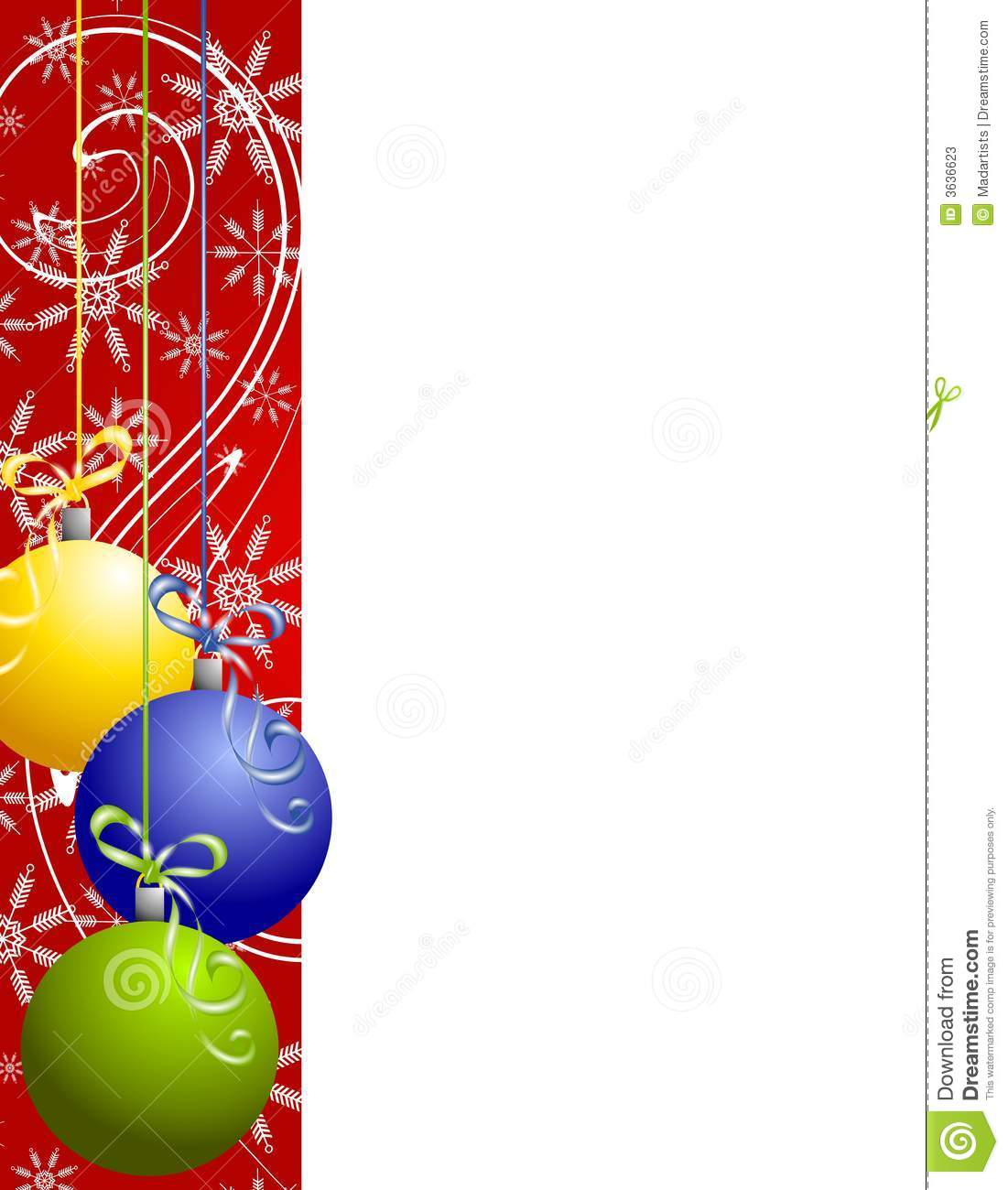 Red christmas ornaments border stock illustration image