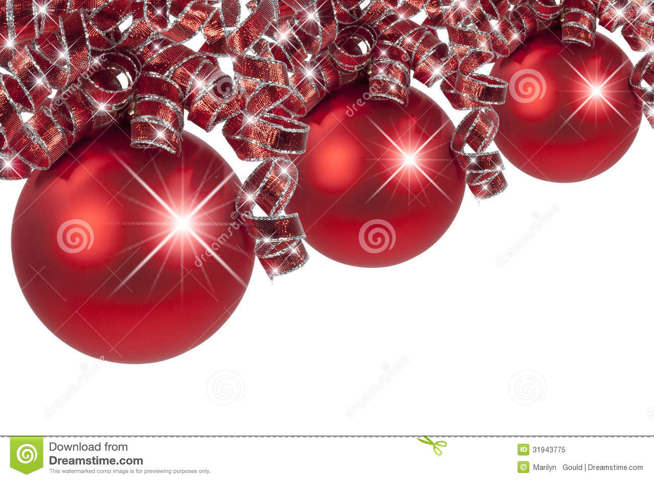 three red christmas ornaments with curly red and silver ribbons on white background - Red And Silver Christmas Ornaments