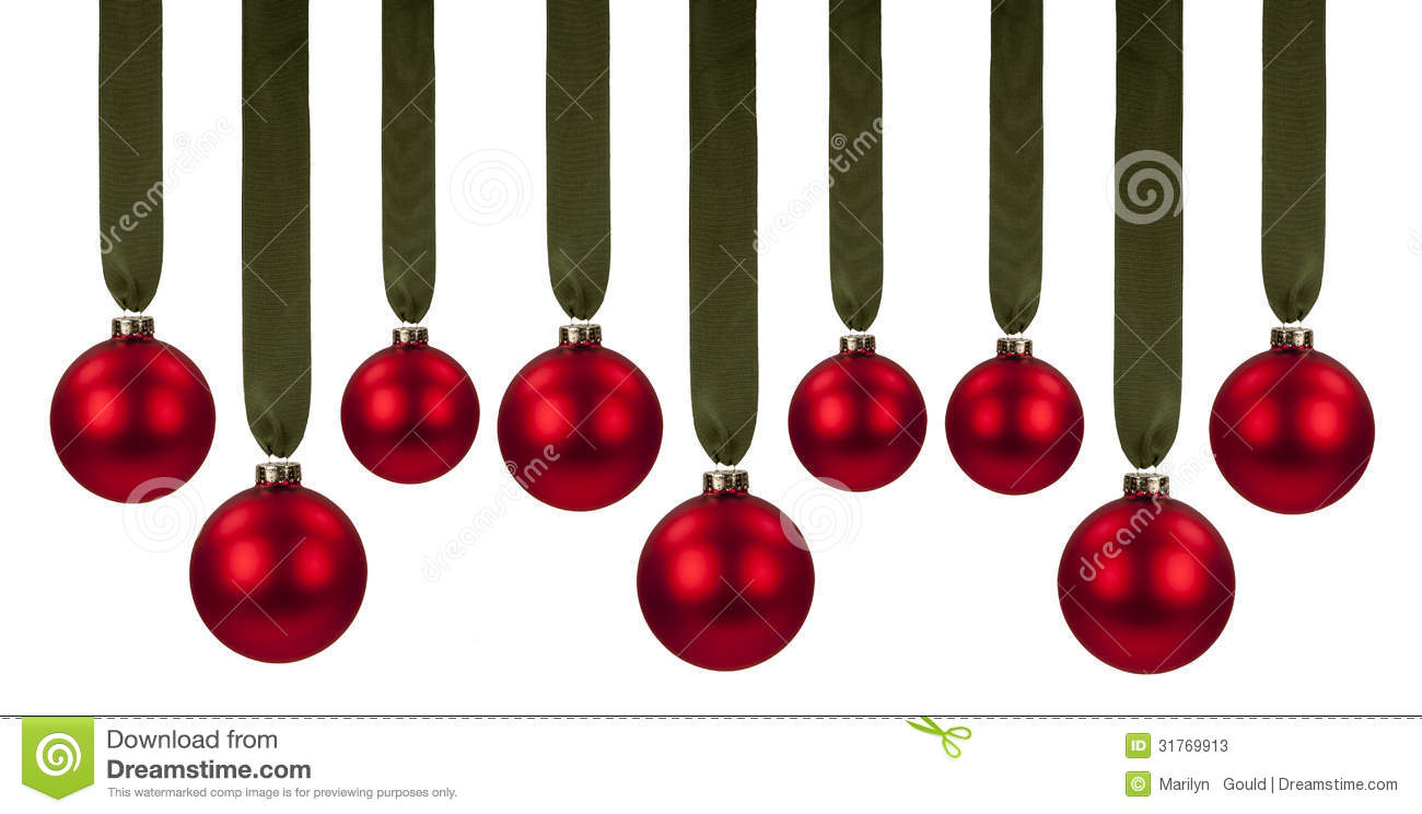 Red christmas ornaments stock photos image 31769913 - Hanging christmas ornaments ...