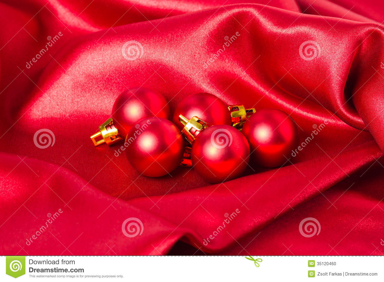 Silk christmas ornaments - Red Christmas Ornaments On Red Silk
