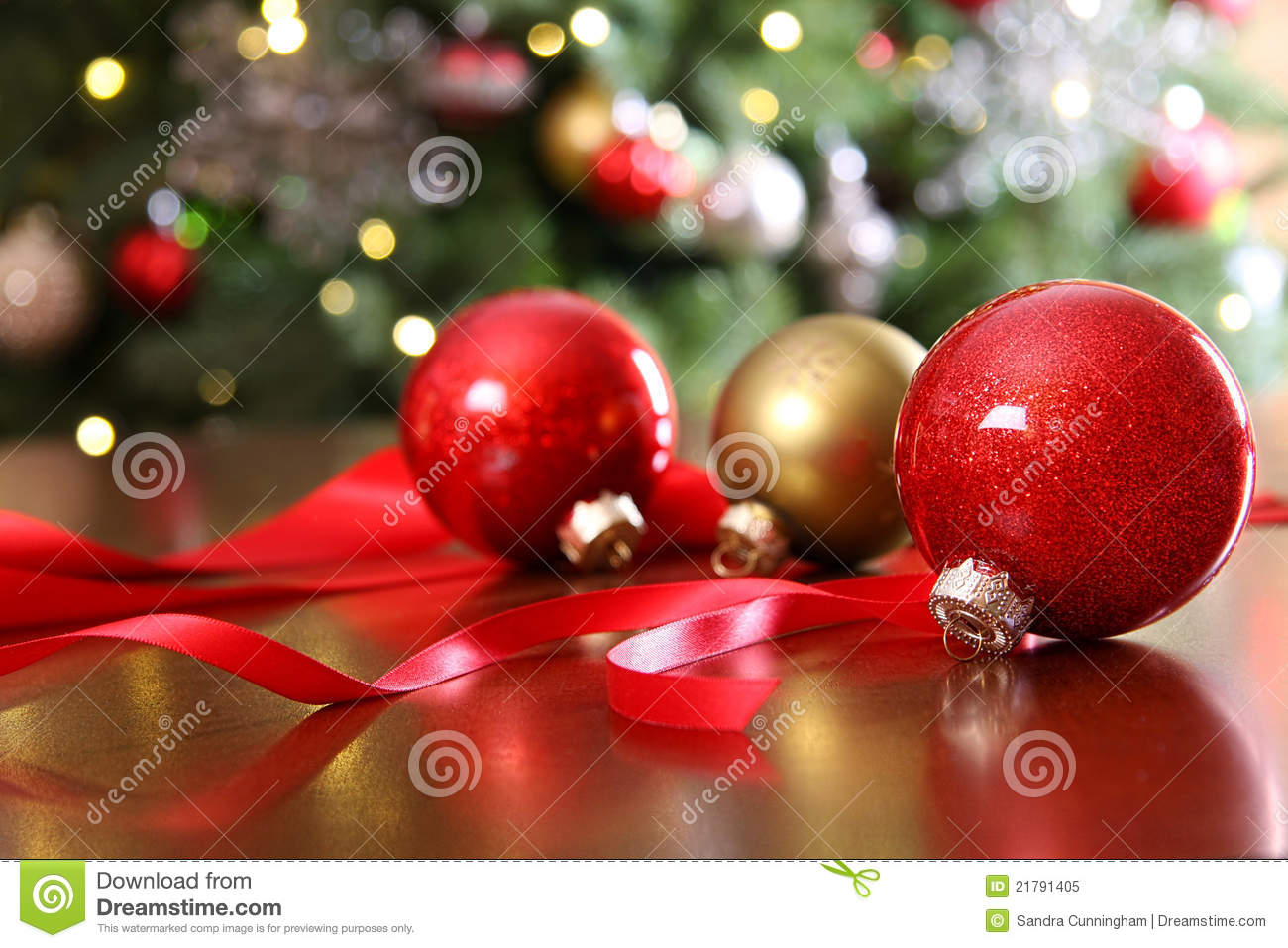 red christmas ornaments on a table royalty free stock photo