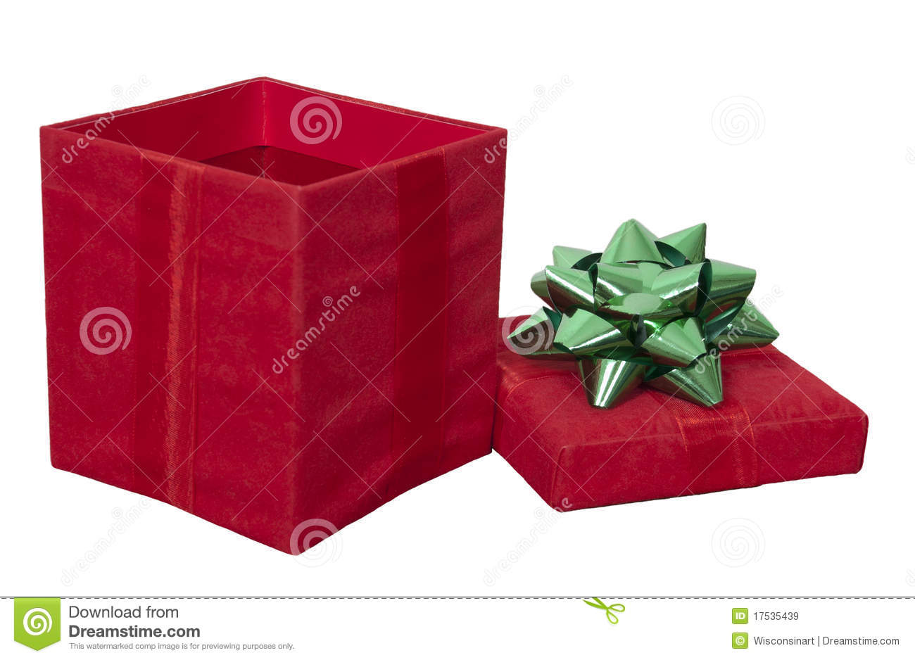 Red christmas present gift box bow isolated white royalty