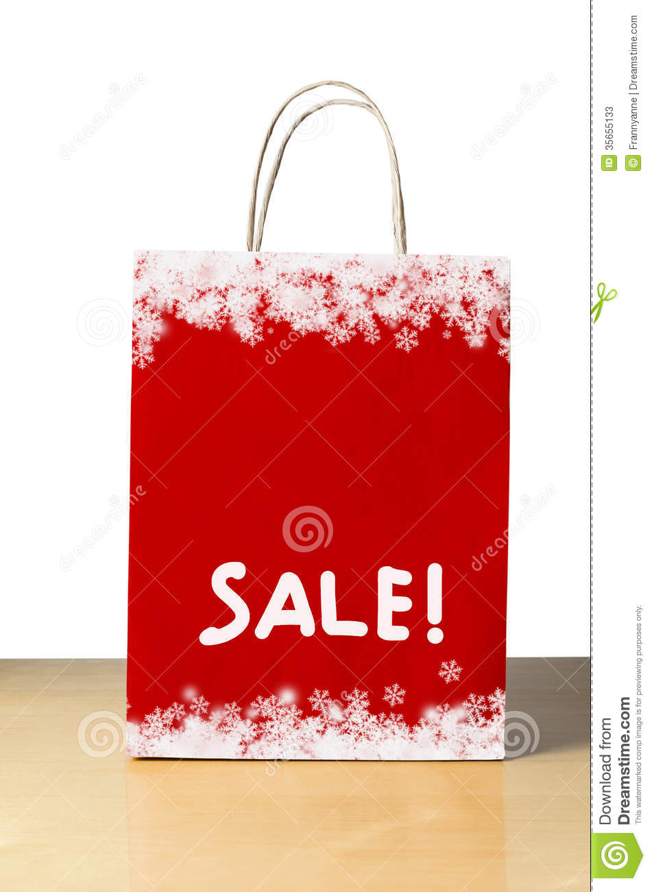 Red Christmas Sale Bag Stock Photos - Image: 35655133