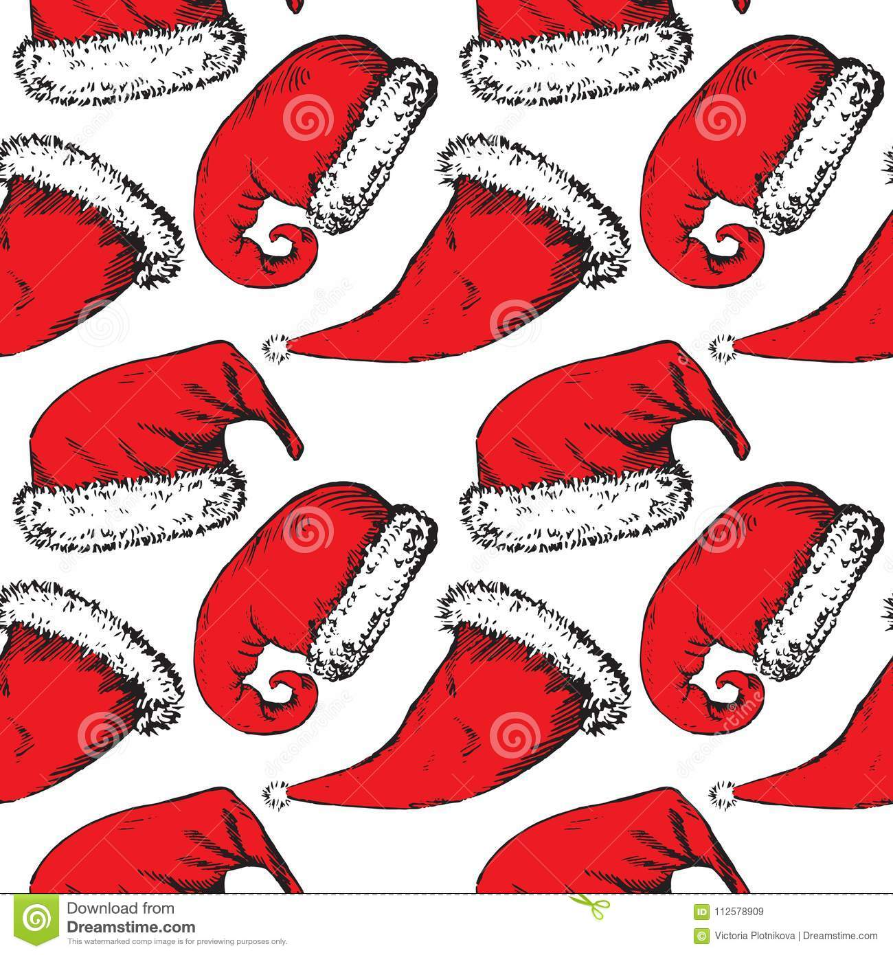 996535427da Red Christmas Santa Hats On White Background Stock Illustration ...