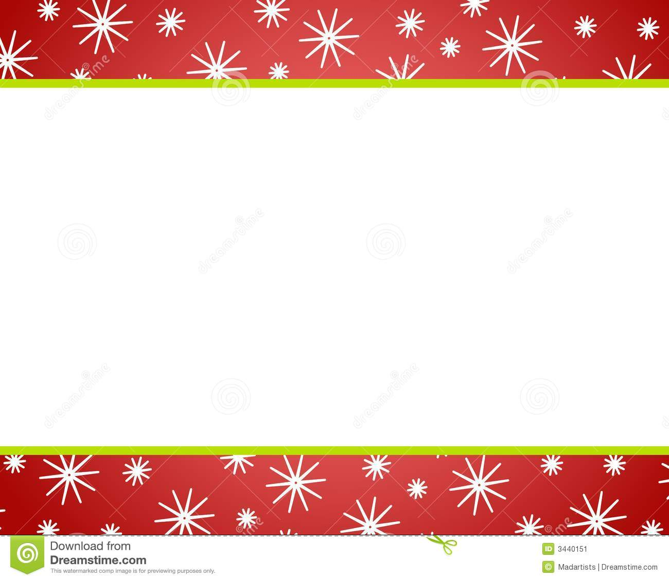 Clip art illustration featuring red christmas borders with