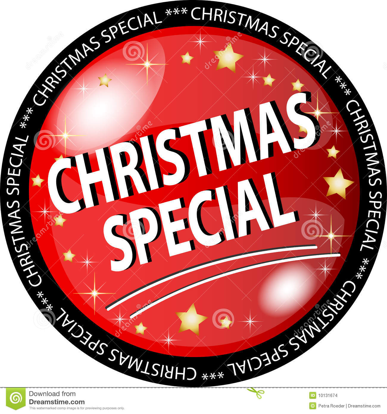 red christmas special button vector illustration - Christmas Special