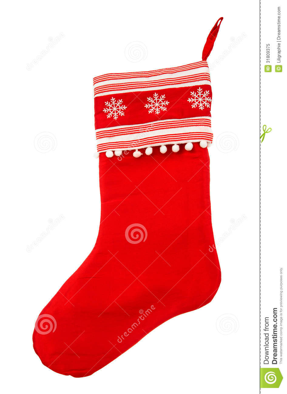 Red Christmas Stocking For Santas Gifts On A White Background ...