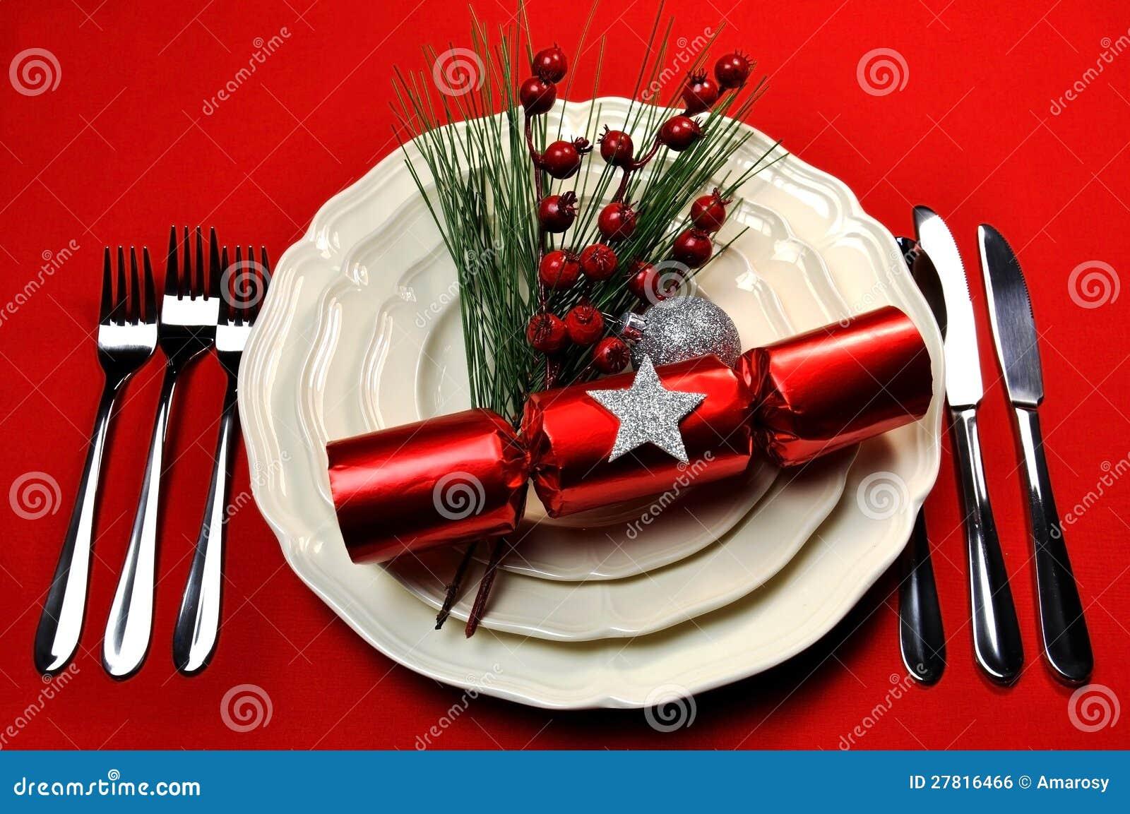 red christmas table setting stock photo