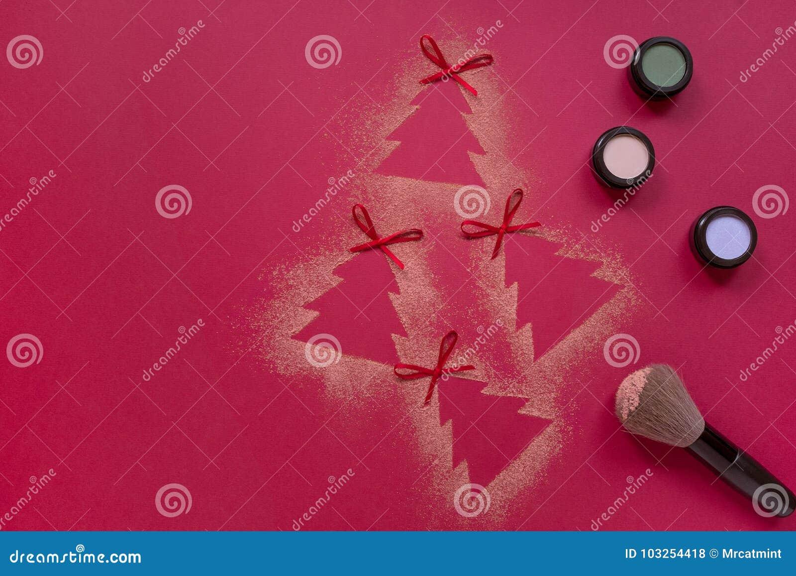 Christmas Eyeshadows Makeup Flat Lay, Christmas Tree Shapes