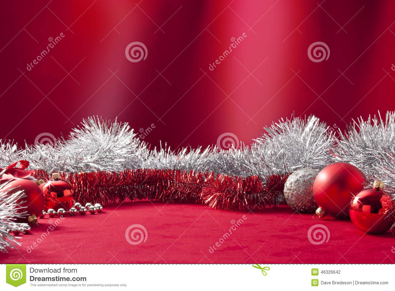 Red Christmas Tinsel Background