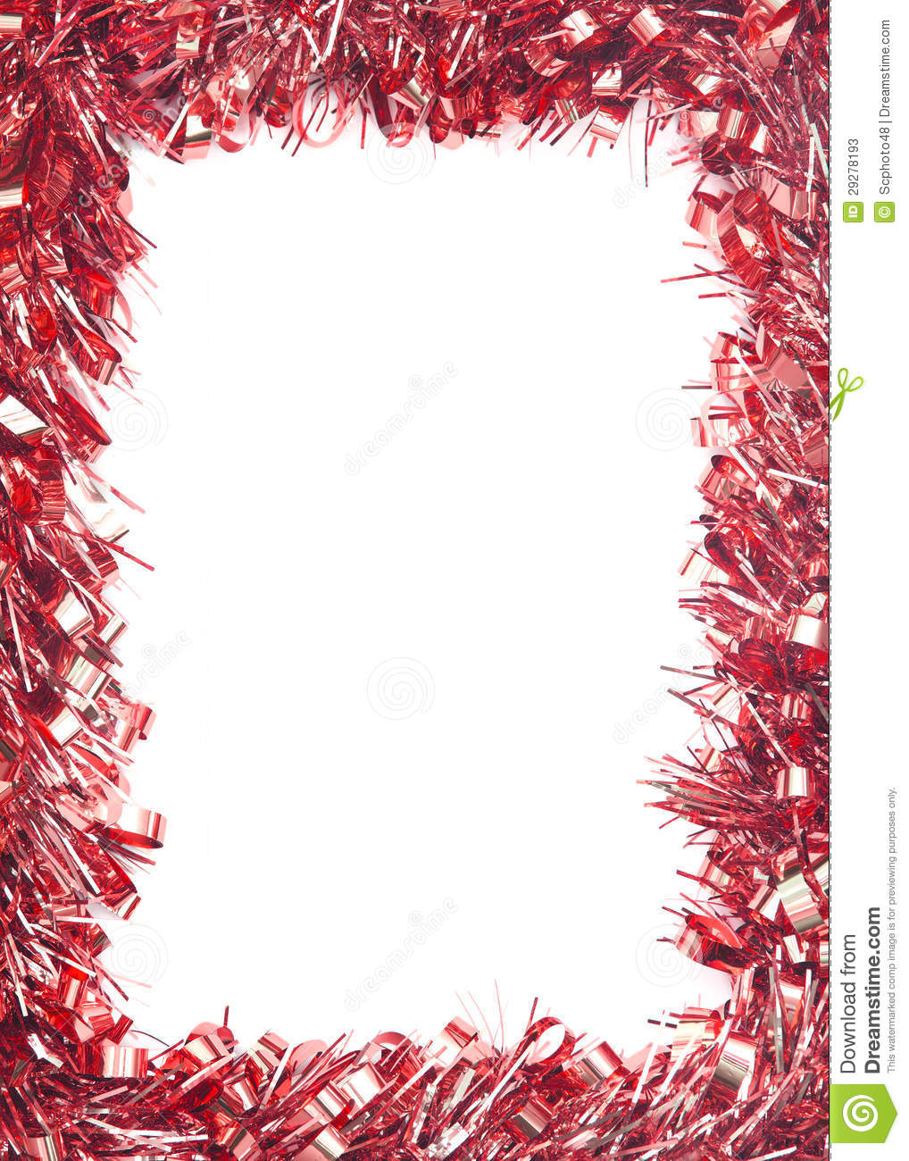 Red christmas tinsel garland stock image