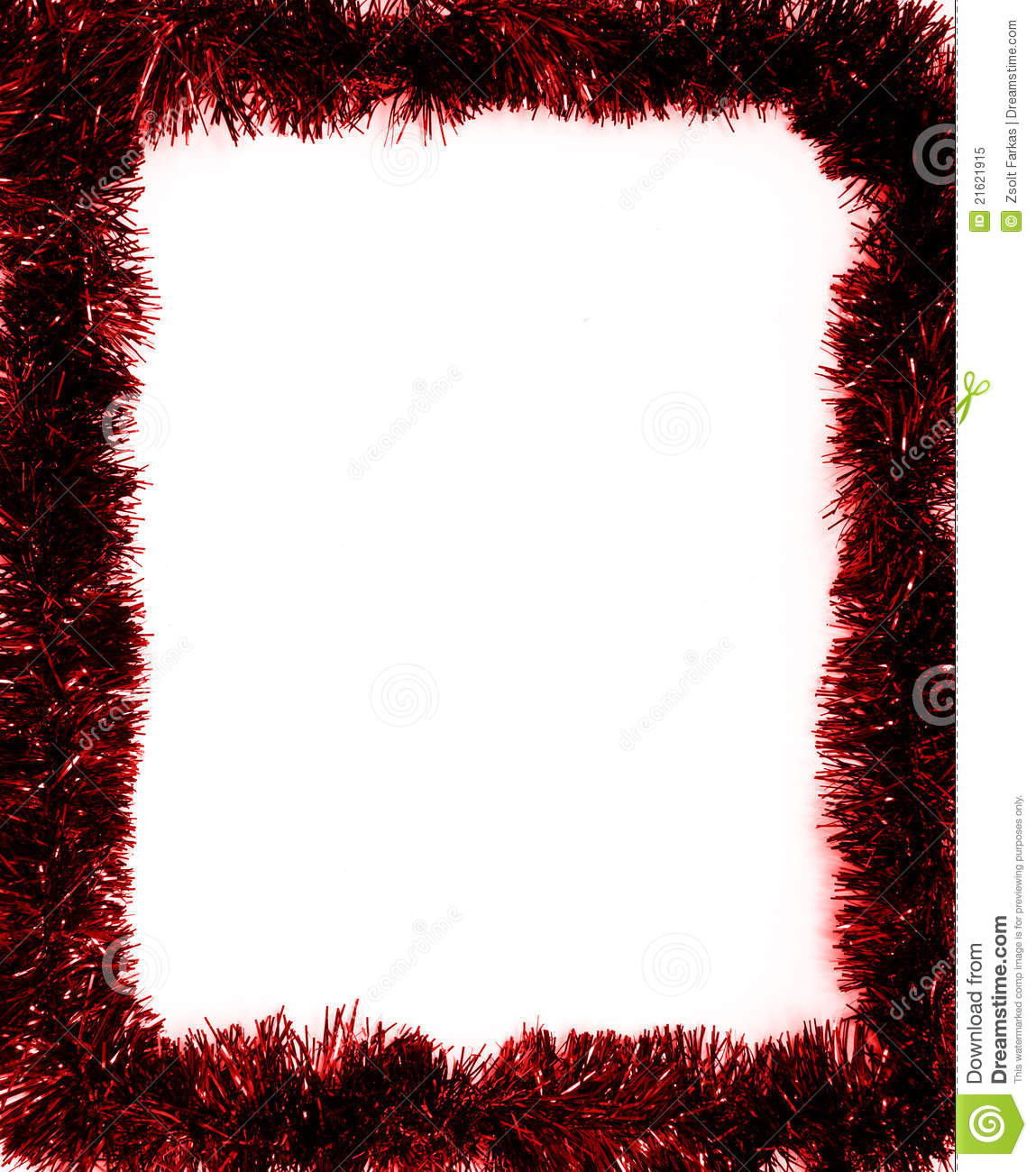 Red christmas tinsel garland decoration stock image