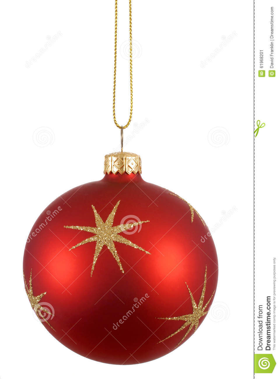 Red christmas tree ball or bauble with gold stars pattern isolated on white background