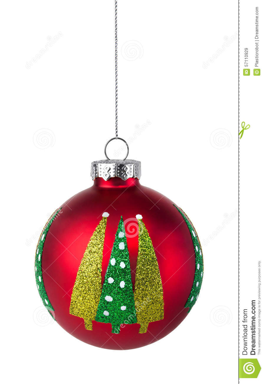 Red Christmas Tree Bauble Hanging On A String Stock Image ...