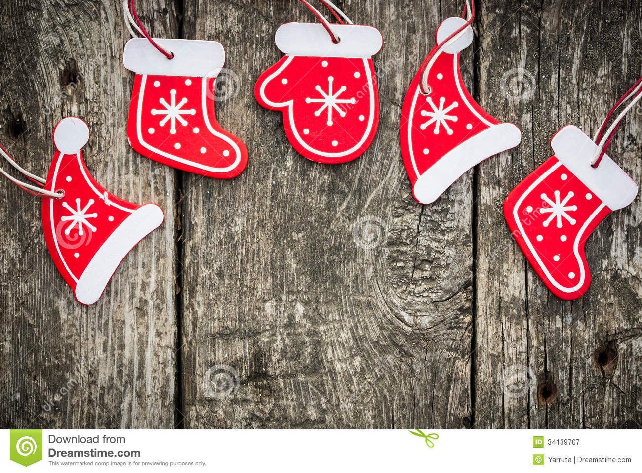 Retro christmas decorations - Red Christmas Tree Decorations On Grunge Wood Royalty Free