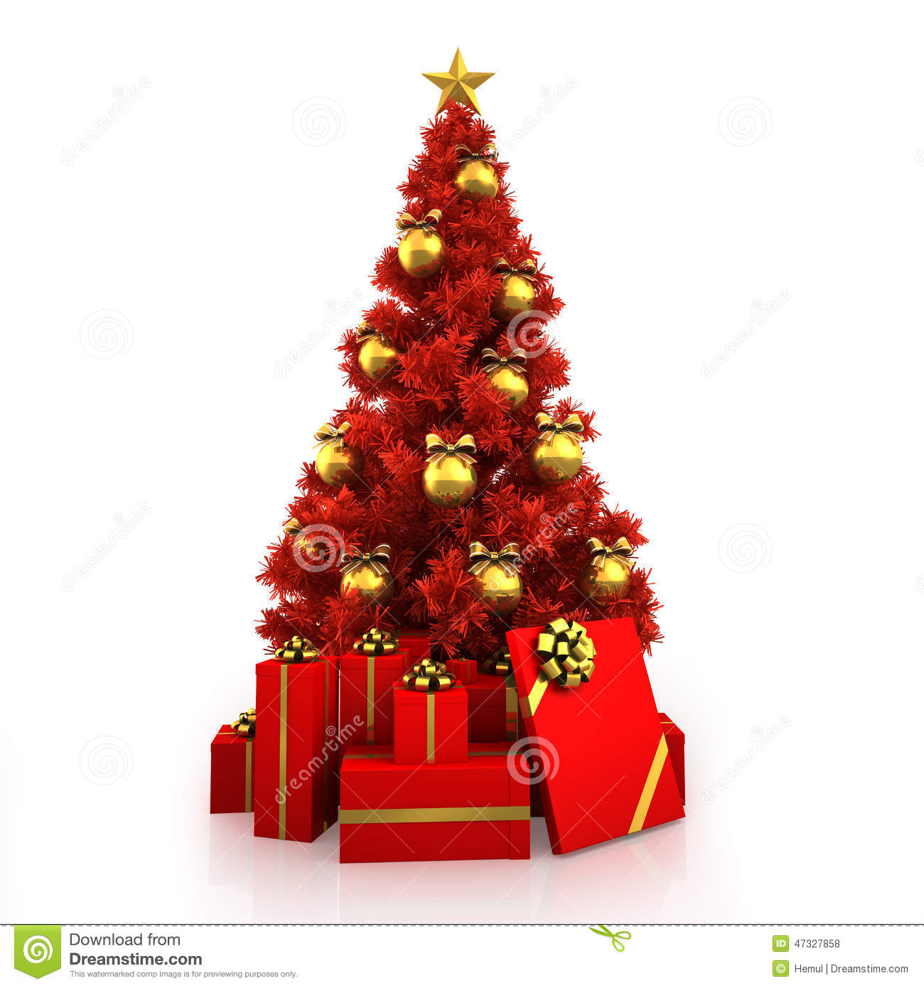 Red And Gold Christmas Trees: Red Christmas Tree With Gold Decor On White Background
