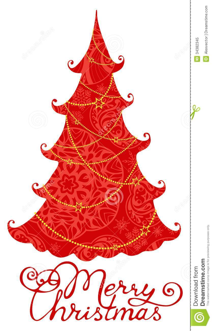 Red Christmas Tree Isolated On White Background Stock ...  Red Christmas Tree White Background