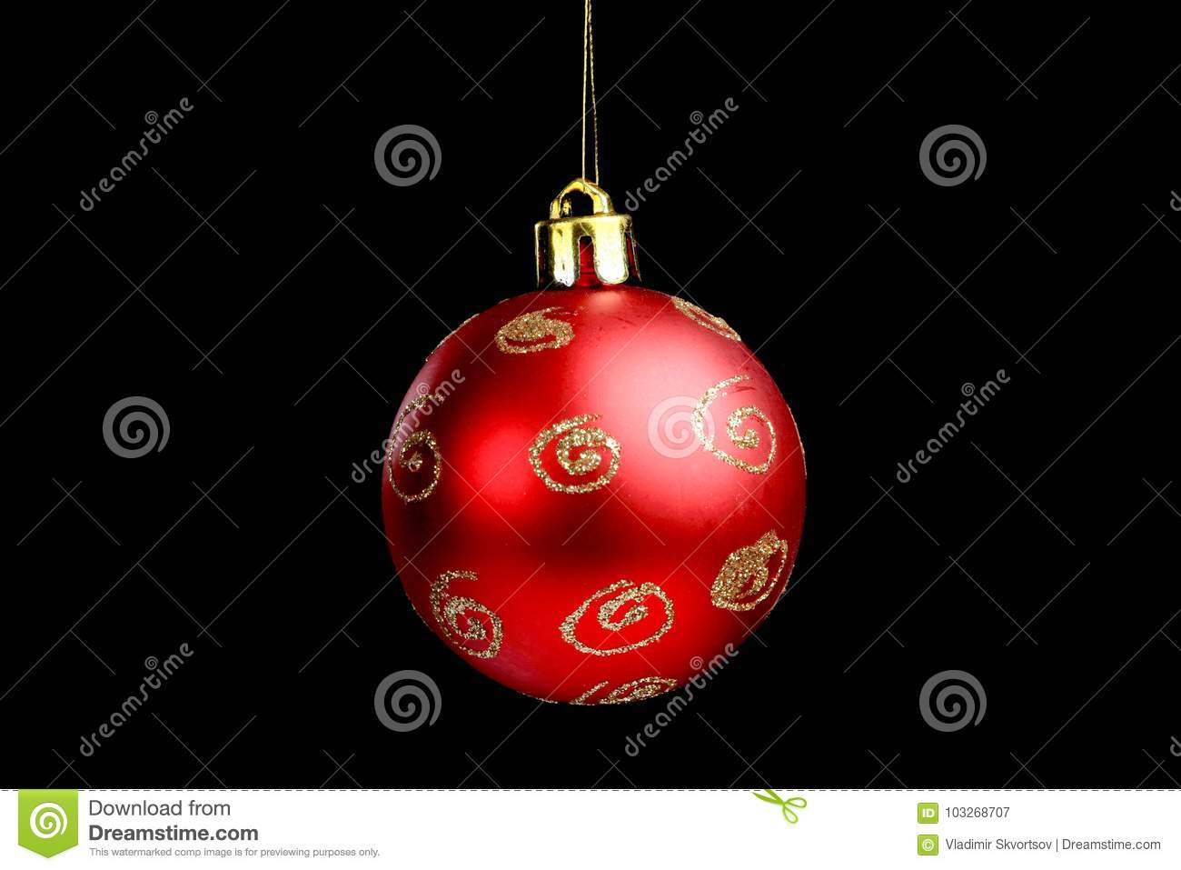 christmas tree decorations isolated black background
