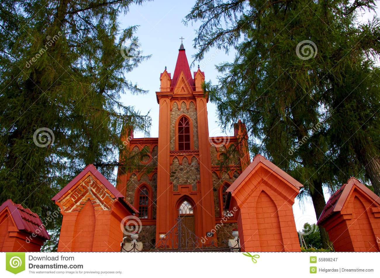 Red Church Stock Photo - Image: 55898247