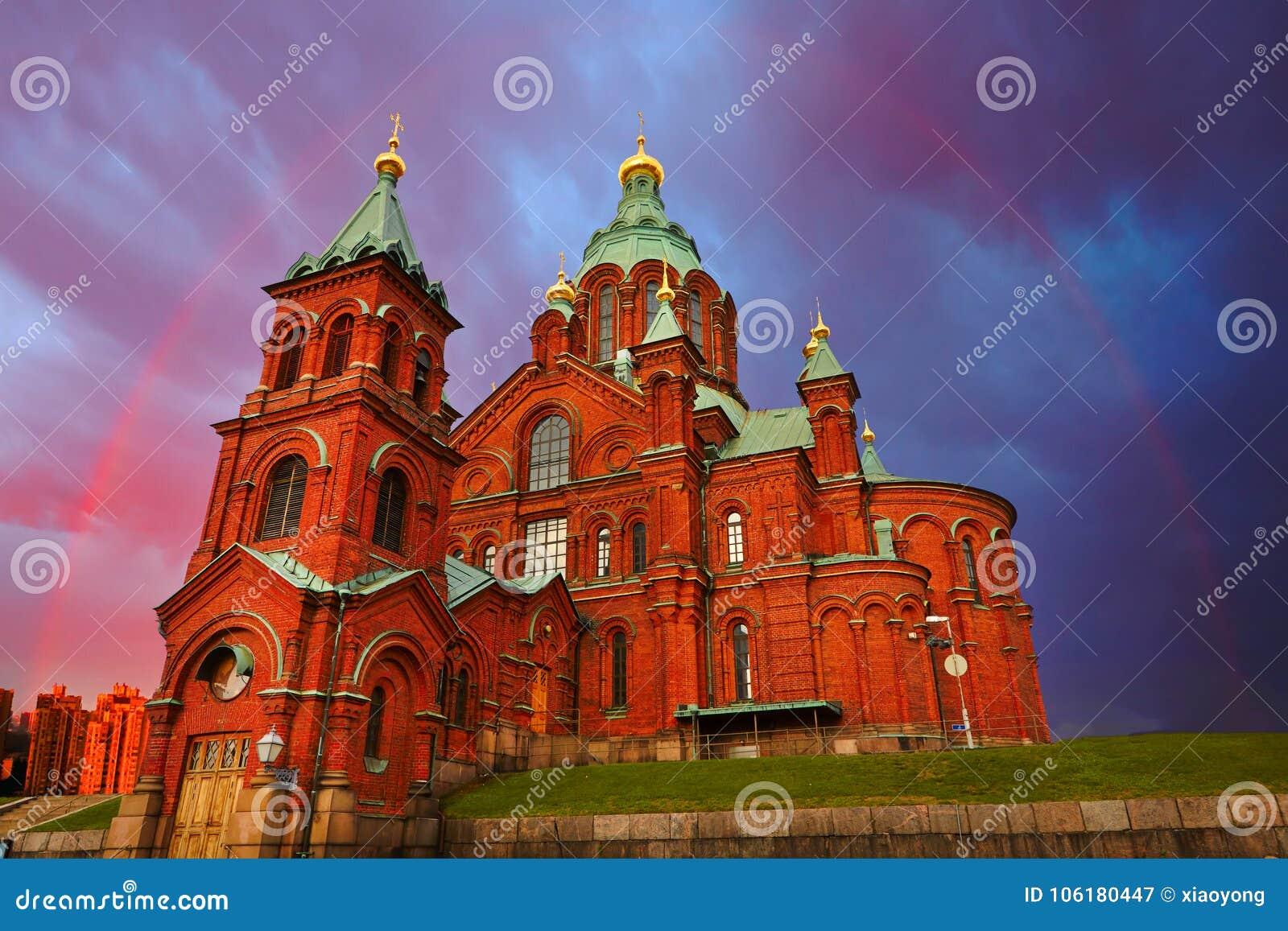 Red Church in rainbow, Helsinki, Finland