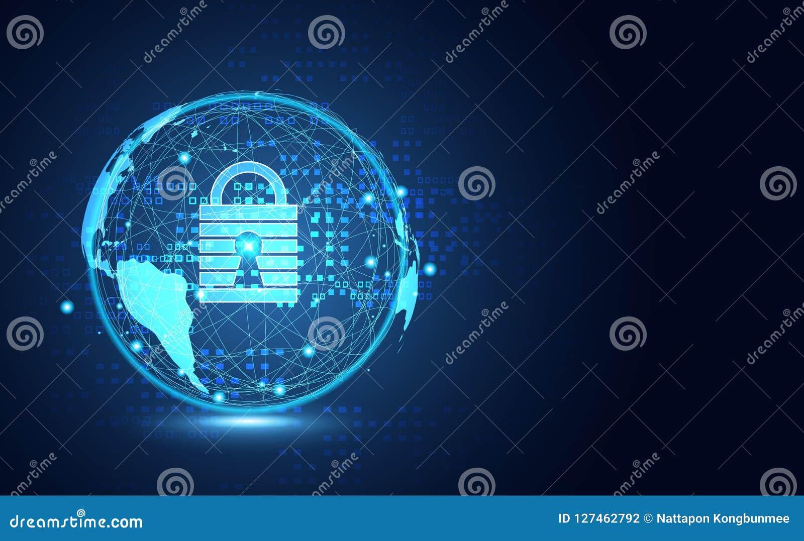 Red cibernética de la información de la privacidad de la seguridad del mundo abstracto de la tecnología