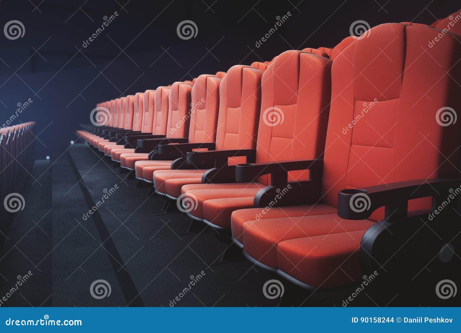 Red cinema chairs seats stock illustration  Illustration of music