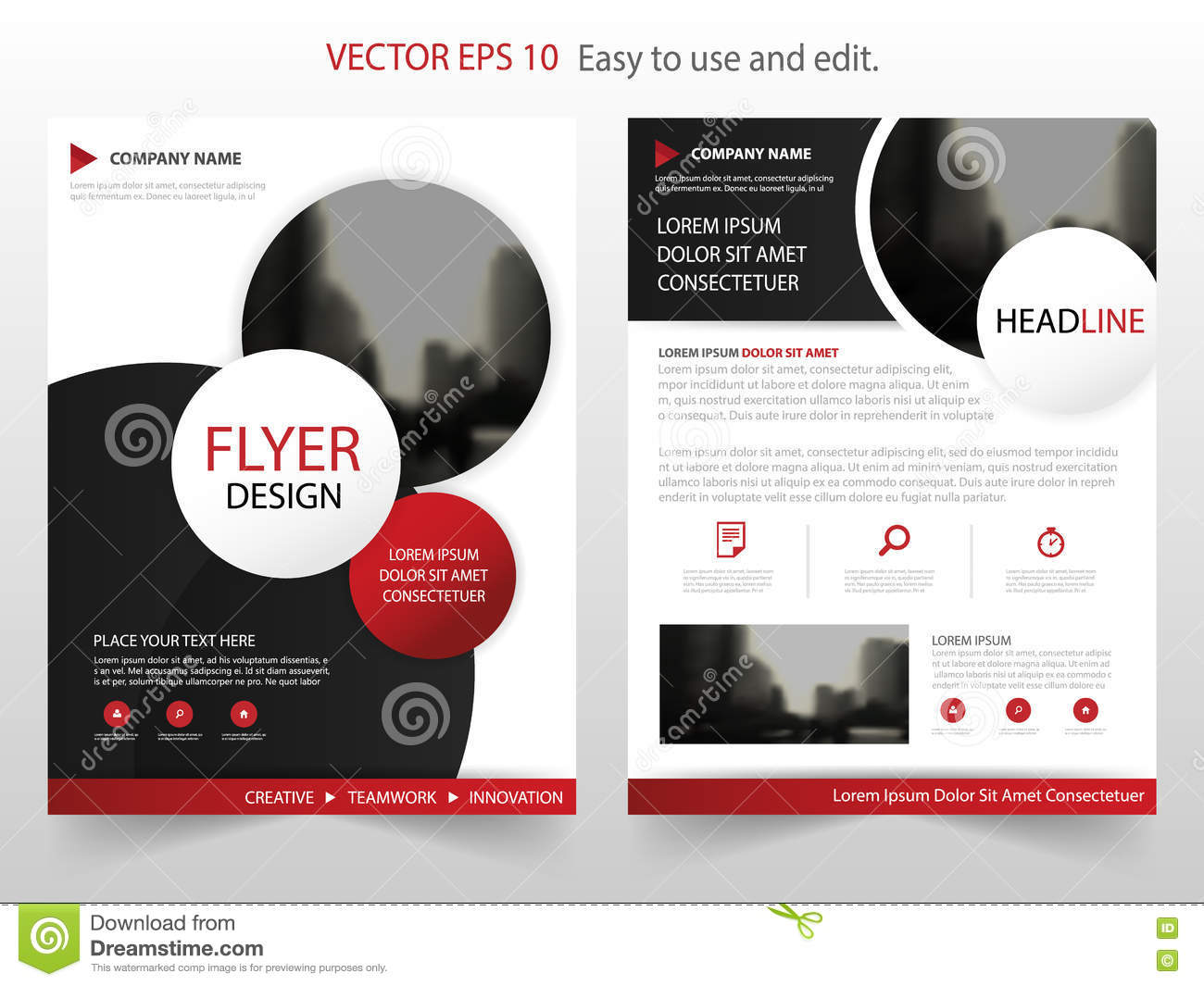 red circle annual report brochure design template vector business