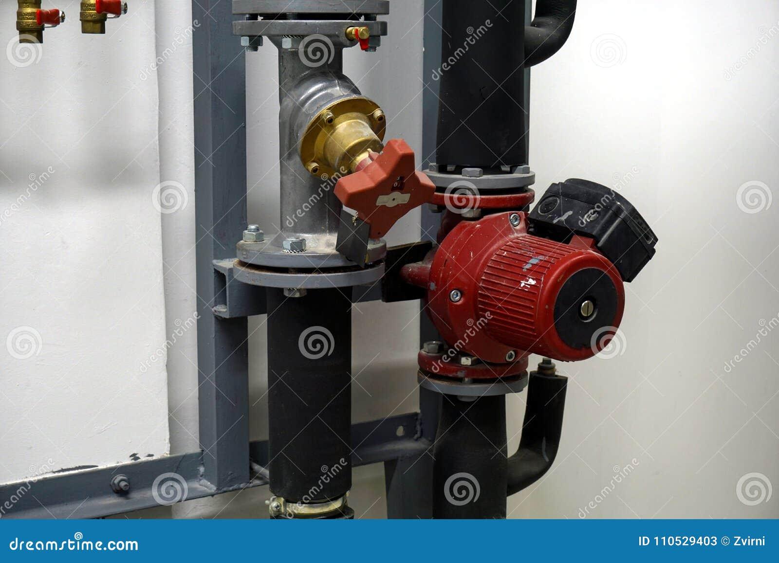 Red Circulation Pump and a balancing valve