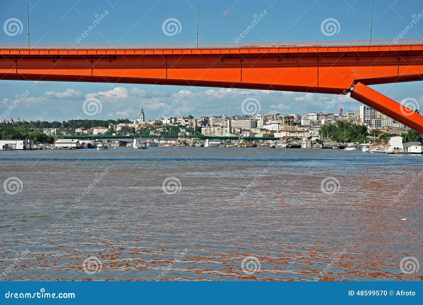 Red city bridge