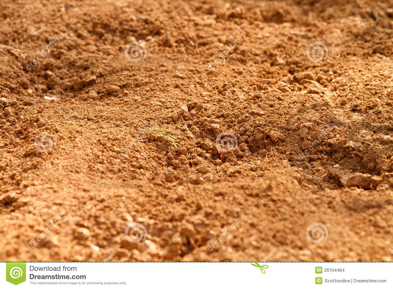 Red clay soil dirt in a farm field stock photo image for South carolina soil