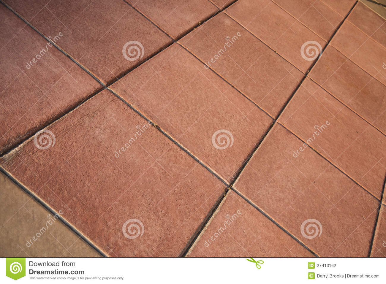 Red Clay Ceramic Tile Floor On An Angle