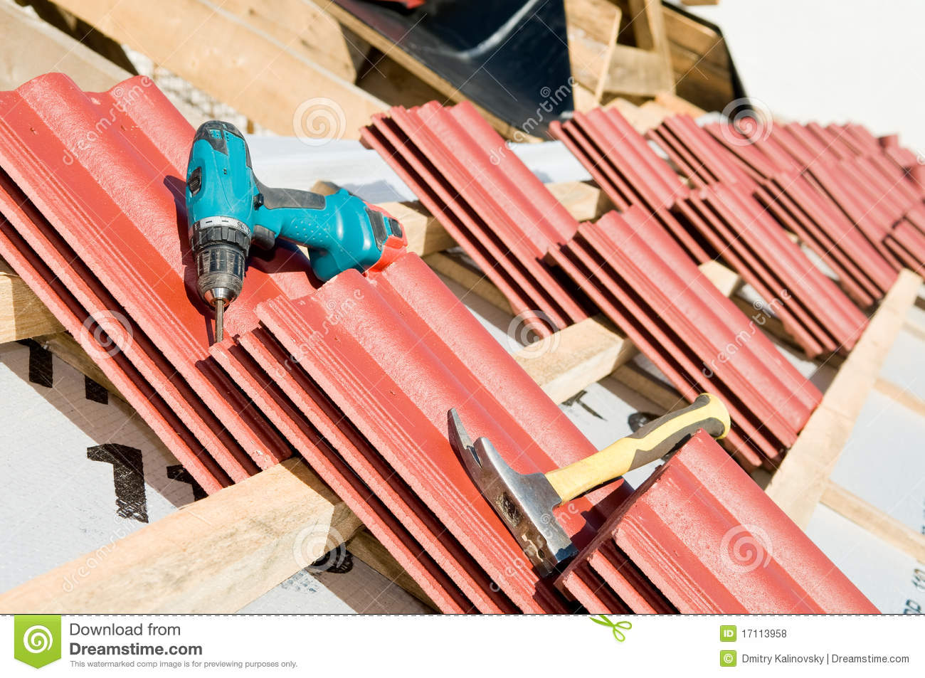 Red Clay Tile Roof And Equipment Stock Photo Image Of