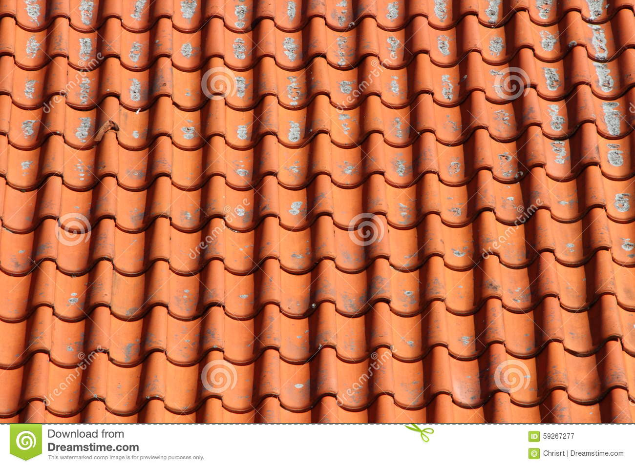 Red Clay Tile Roof On Old Farm House Horizontal Stock ...