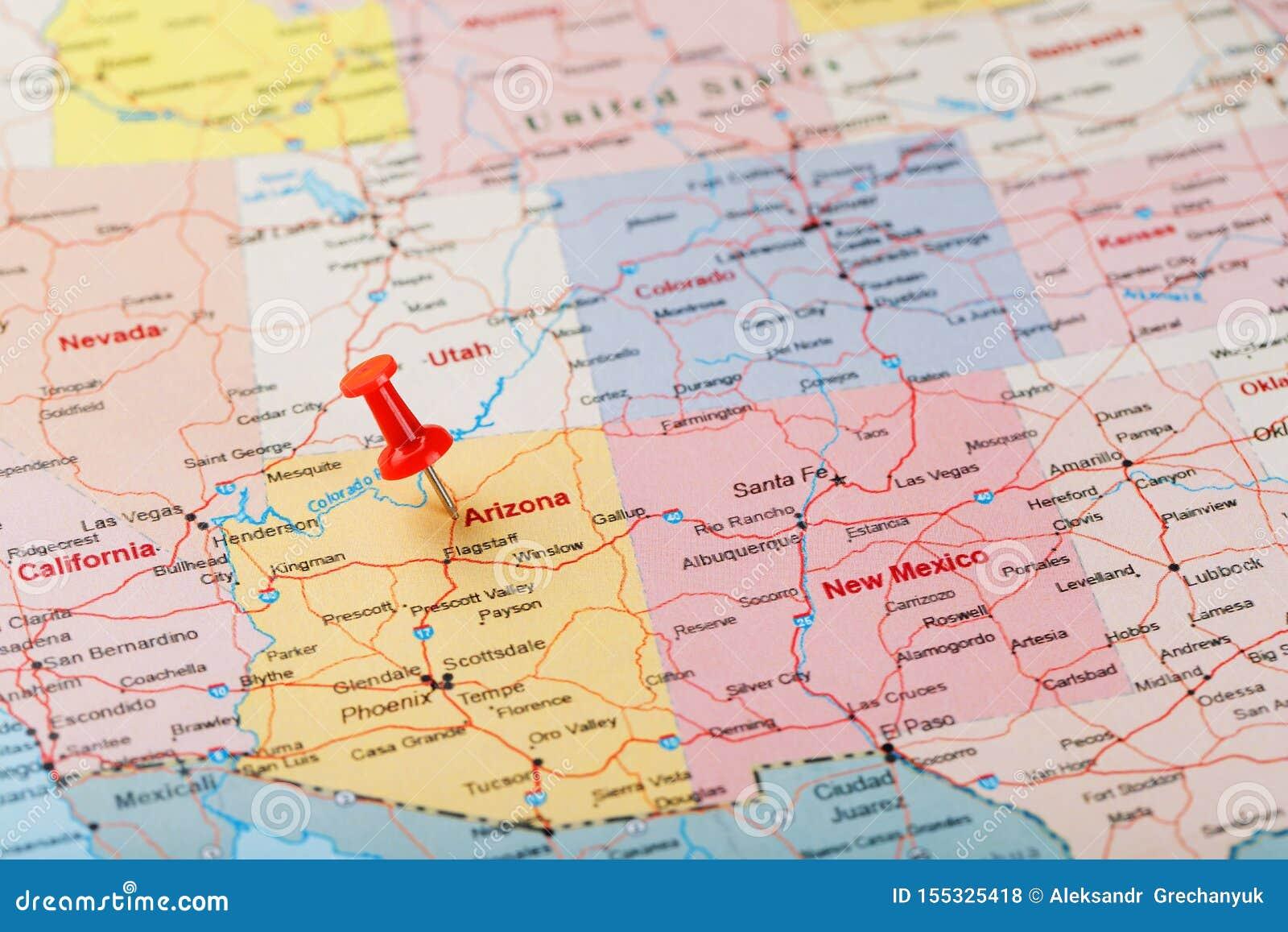 Red Clerical Needle On A Map Of USA, Arizona And The Capital ... on alaska usa, arizona surrounding states, arizona map mexico, arizona border map, arizona map red, arizona county map, arizona flag usa, arizona map yuma az, arizona teams, arizona map phoenix az, arizona map sedona az, arizona map coloring page, arizona map tempe az, arizona map with cities, arizona map with lakes, arizona map outline, arizona map clip art,