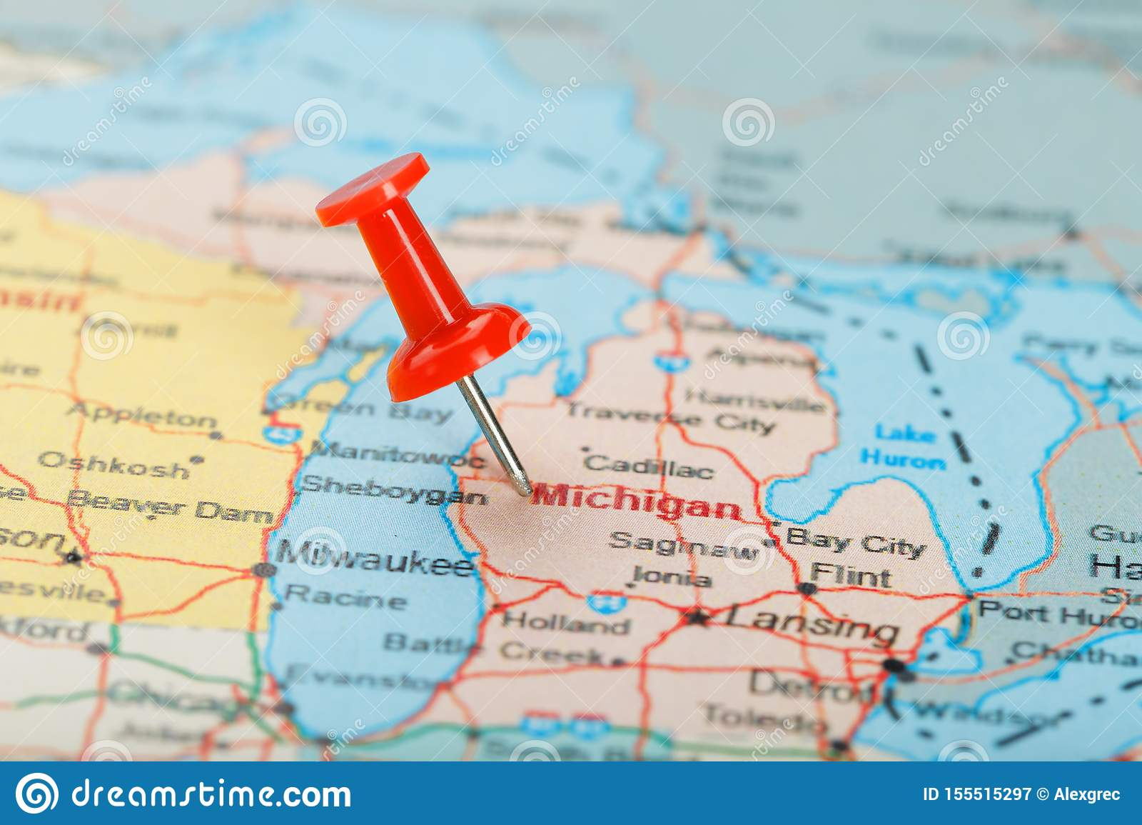 Red Clerical Needle On A Map Of USA, Michigan And The ...