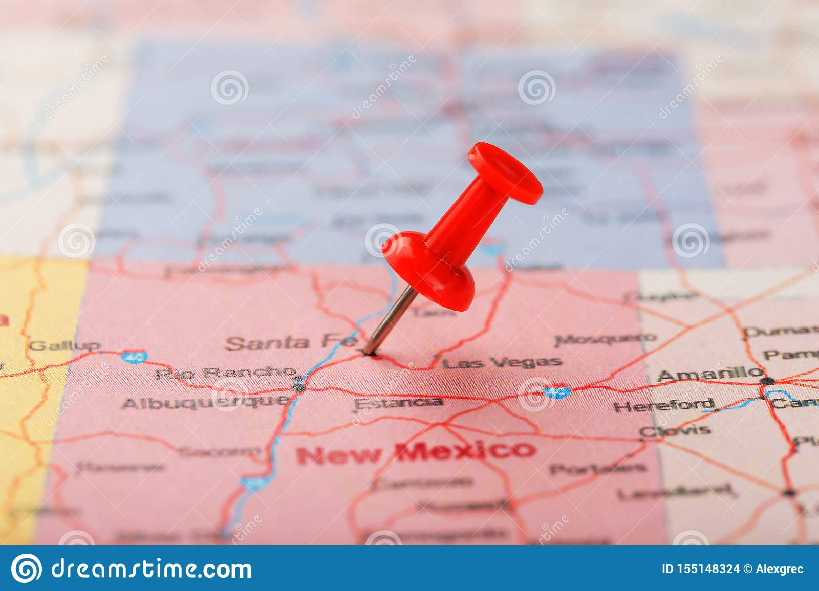 Red Clerical Needle On A Map Of USA, New Mexico And The ...