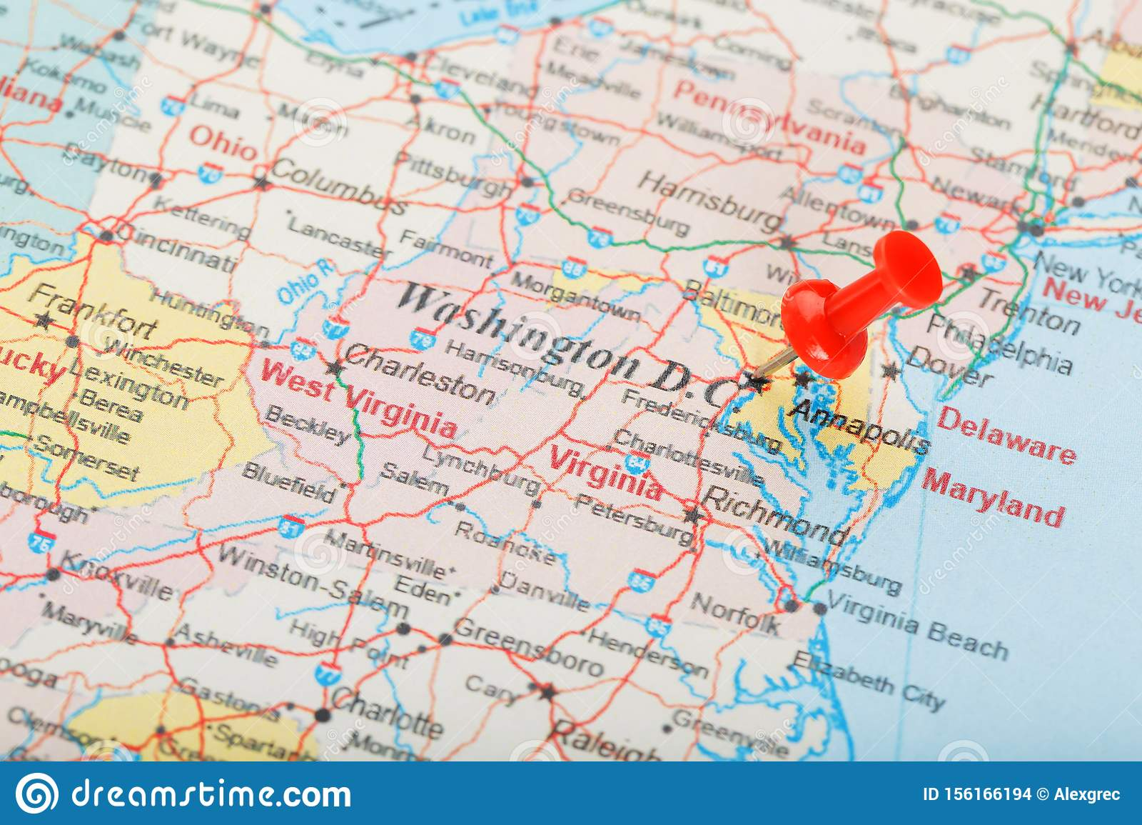 Red Clerical Needle On The Map Of USA, South Washington, DC ...