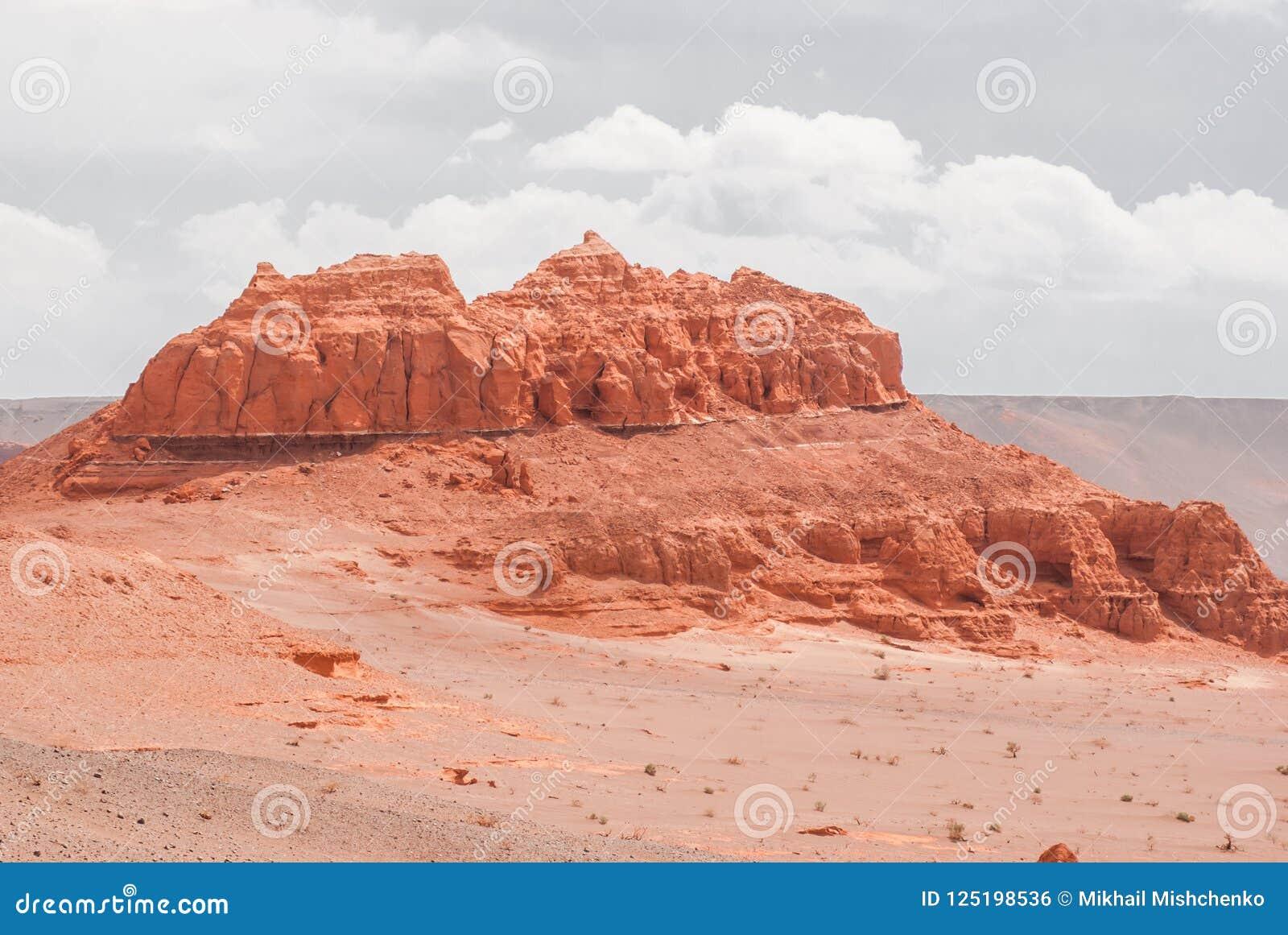 Red Cliffs Of Khermen Tsav Canyon  Gobi Deser Stock Photo