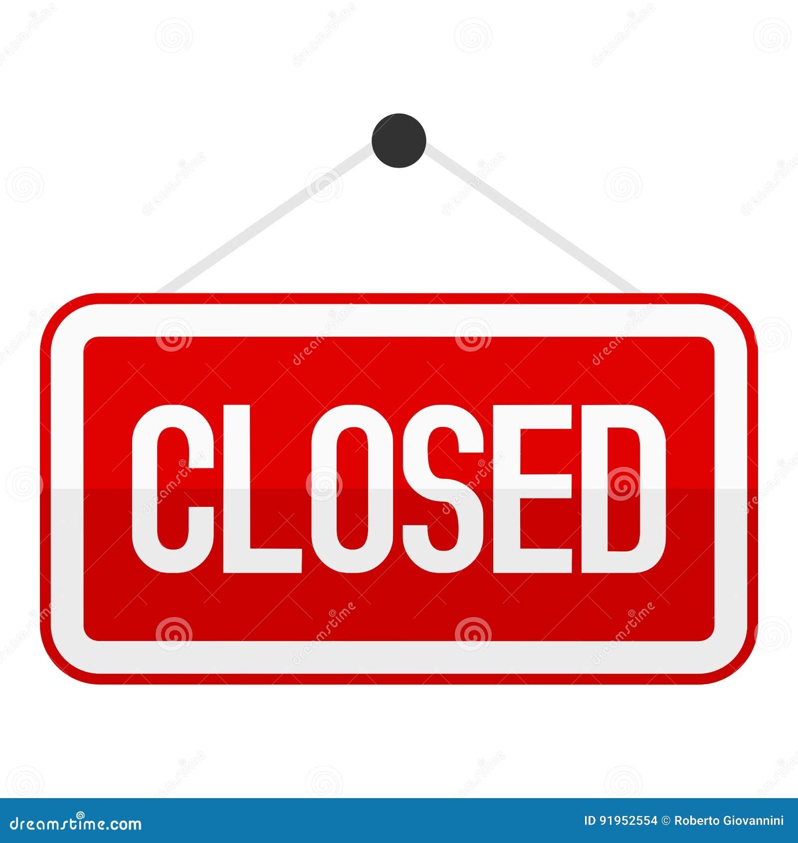 Freehand drawn cartoon closed shop sign.  Cartoon Closed