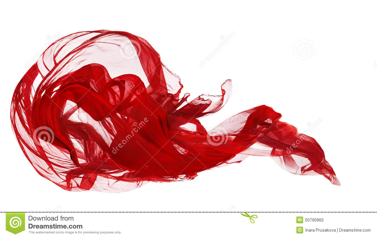 Red Cloth Isolated Over White Background, Fabric Freeze Motion, Waving Flying Textile
