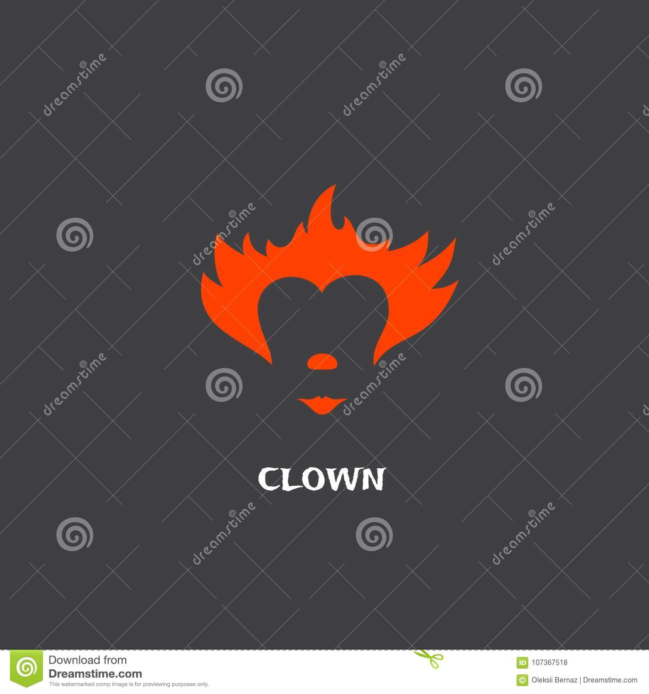 red clown hair nose and lips abstract vector sign emblem or logo