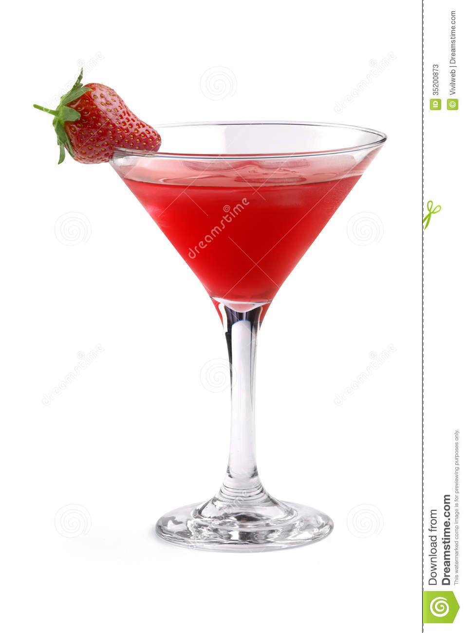 Red cocktail garnished with strawberry in a martini glass on white ...