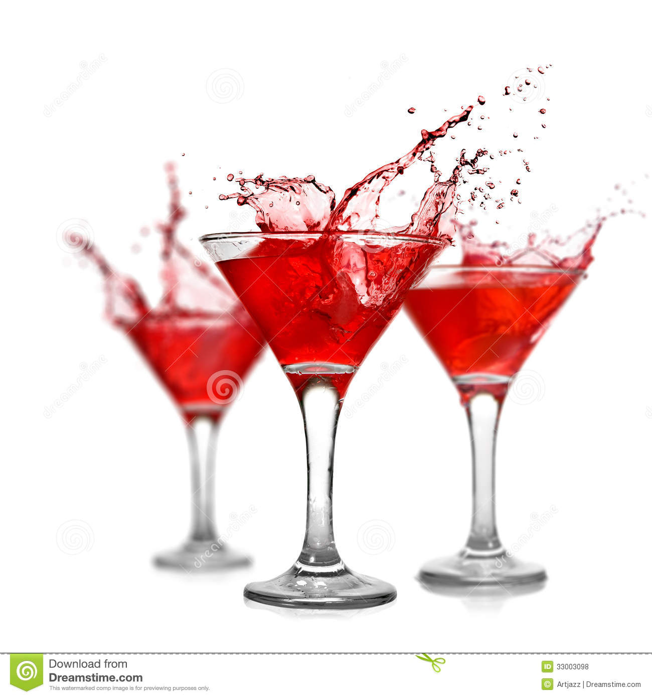 Red Cocktails With Splash On White Royalty Free Stock