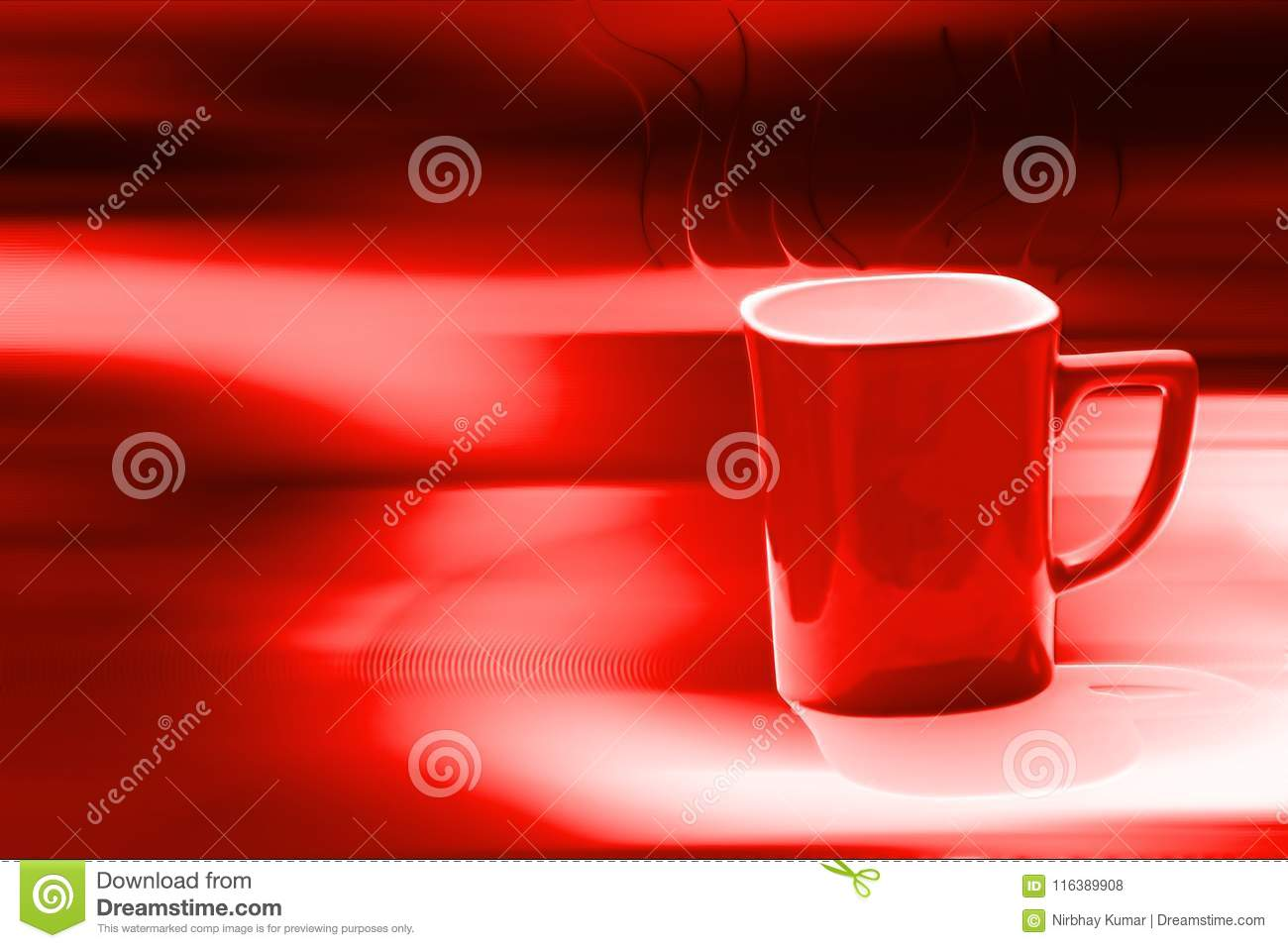 Red coffee cup in blur background