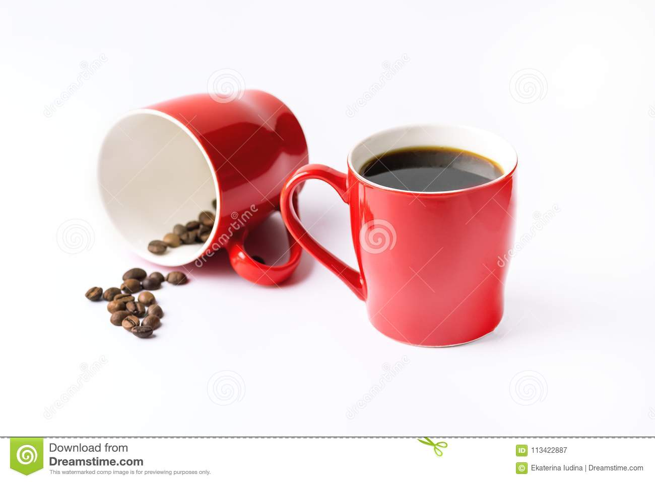 red coffee cups cup of coffee on white background background with