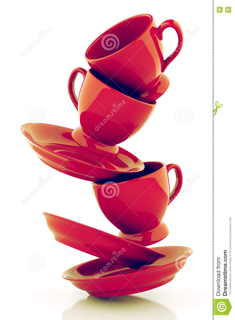 red coffee cups with saucers stock illustration illustration of