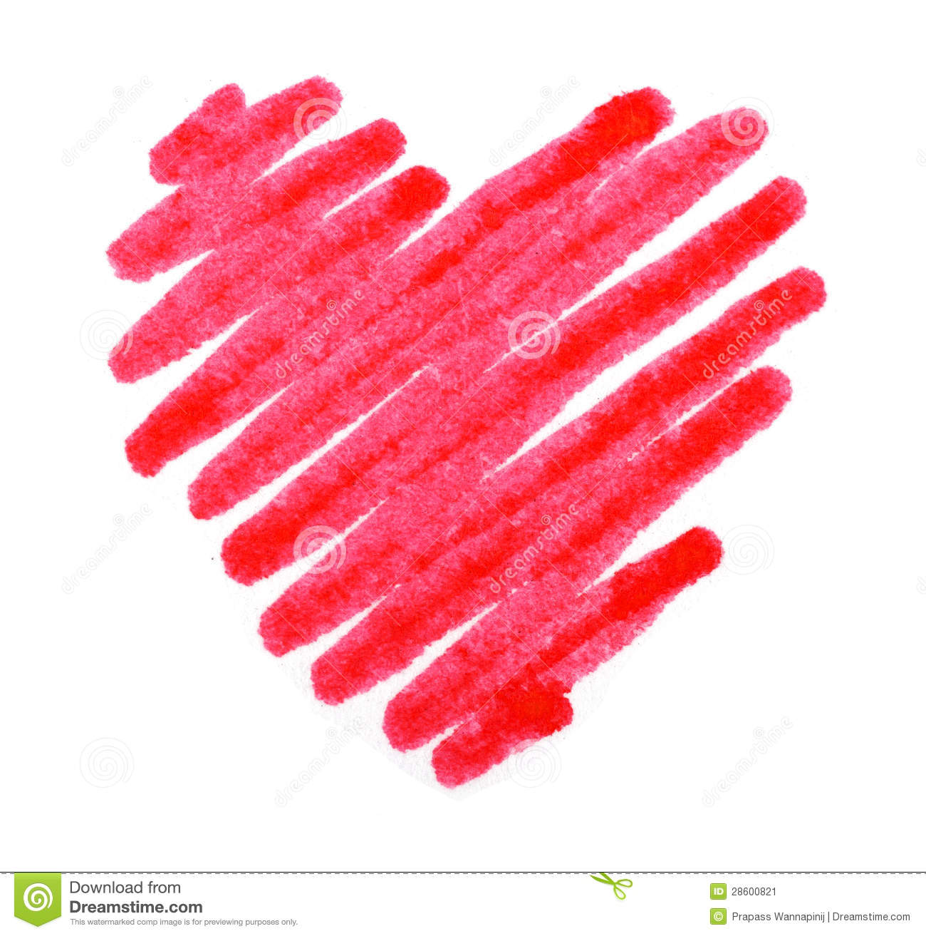 Red Color Drawing Stroke Heart Shape Stock Image