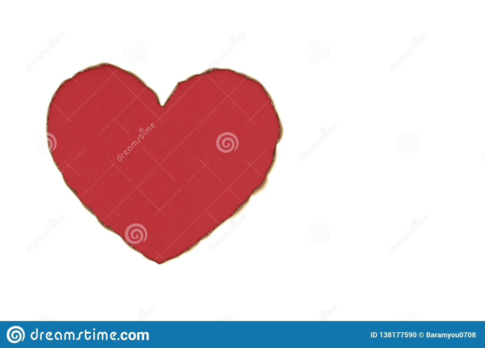 Red color heart love shape with burnt white paper.