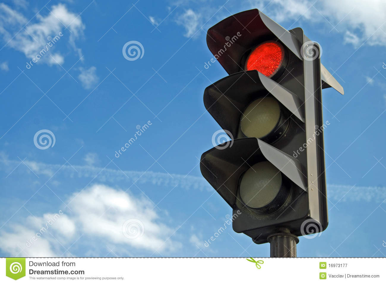 Red color on the traffic light